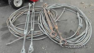 cable d'acier et tendeurs 28 po et 22po.