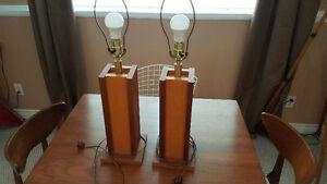 Beautiful Pair of Teak and Birch Table Lamps