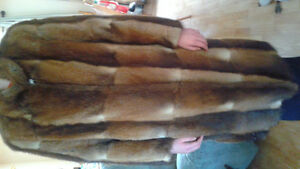 Genuine full length Muskrat fur coat
