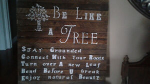 Wood signs and trays