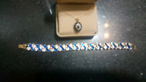 10k Gold Chain with Blue Sapphire and diamonds with a Bracelet