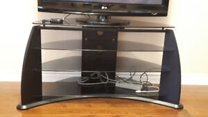 42-Inch Midnight Black TV Stand with Glass Shelves