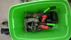 Bin full of battery powered tools