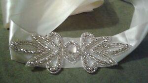 Ivory Rhinestone Wedding Dress Ribbon Sash Belt - New