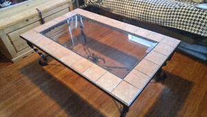 REAL heavy wrought iron and ceramic tile coffee table