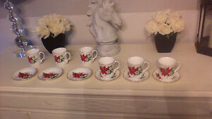6 bone China tea cup and saucer set