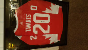 John Tavarez framed signed world hockey Jersey