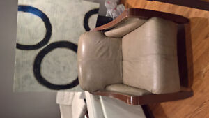 Modern Classic Green Leather Chair with ottoman