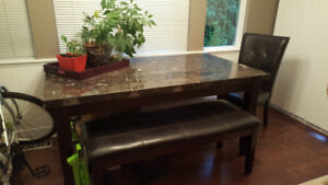 Marble Dining Table with bench and 2 chairs - $150 (Maple Ridge)