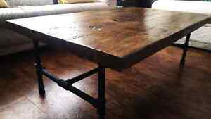 Reclaimed threshing board and black pipe coffee table