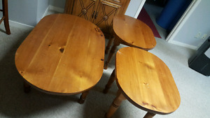 Pine coffee and end tables.