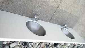 Double Corian Vanity Top with Two SS Sinks & Faucets Kitchener / Waterloo Kitchener Area image 6