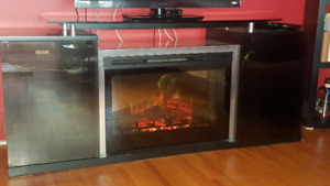 Electric Fireplace TV Stand w/Glass top &- doors