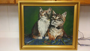Vintage kittens oil painting