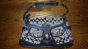 EUC Authentic COACH Purse - Brown Fabric & Leather