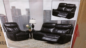 3pc Black Leather Reclining Set **1 Only**