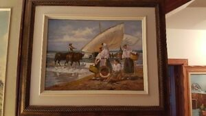 Gorgeous original oil on board painting River scene / Fishermen