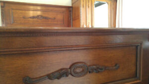 Century-Old Antique Solid Oak Queen Size Bed Frame