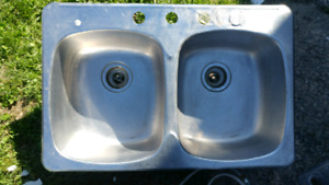 Stainless steel kitchen double sinks and faucets