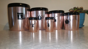 Copper canister and salt and pepper shakers