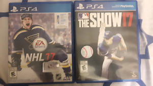NHL 17 et MLB The Show 17 a vendre PS4
