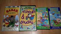 4 films VHS pour enfants (T'choupi et Doudou, Babar, Stanley)