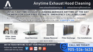 COMPLETE CLEANING & DEGREASE--ANYTIME EXHAUST AND HOOD CLEANING