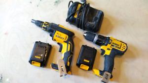 cordless 20v dewalt hammer drill and drywall screw gun