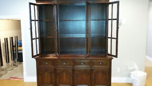 SOLID CHERRY DINING ROOM TABLE AND CHINA CABINET