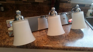 3 bulb glass wall mount fixture