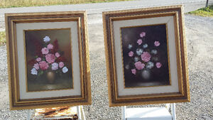 2 WOOD FRAMED FLORAL OIL PAINTINGS