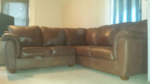 Leather sectional & chair