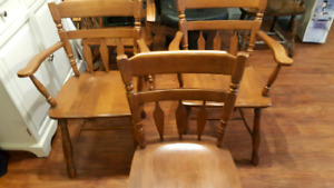 Solid maple table and chairs  $250