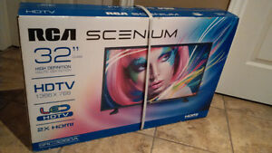 "**Unopened 32"" RCA LED HDTV with wall mount bracket & DVD Player"