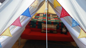 5 metre ultimate glamping bell tent with stove vent