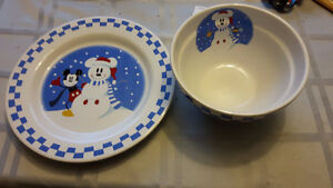 Mickey Mouse Christmas Bowl and Plate