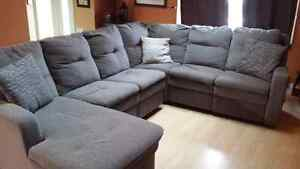 Grey Reclining Sectional Couch Need Gone ASAP