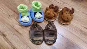 3 pairs of  6-12 month slippers