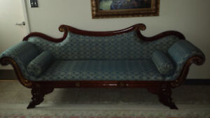 ANTIQUE COUCH, LOVE SEAT AND READING CHAIR WITH FOOT STOOL