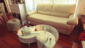 Ivory Leather Couch - Great Condition, Great Deal !!!