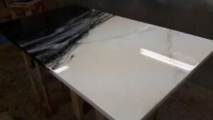 comptoir au fini epoxy imitation faux granite marbre quartz