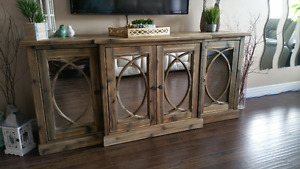 Rustic mirrored doors console cabinet, chest - accent furniture