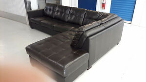 Large L-shaped leather sectional - free delivery