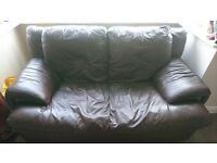 2 Seater Brown Leather Sofa - sold