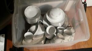 Dishware Set with Coffee Pot, Cups, Saucers, Creamer, Sugar Bowl
