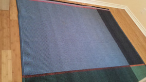 Area rug flat woven - can be turned over - reversible.