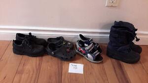 boys size 10 shoes,sorel boots, crocs