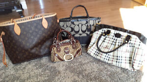 variety of hand bags and wallet