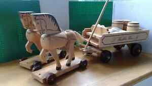 RARE German Wooden Horses and Carriage vintage