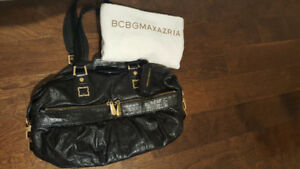 BCBG - Sac à main cuir noir/Black leather handbag